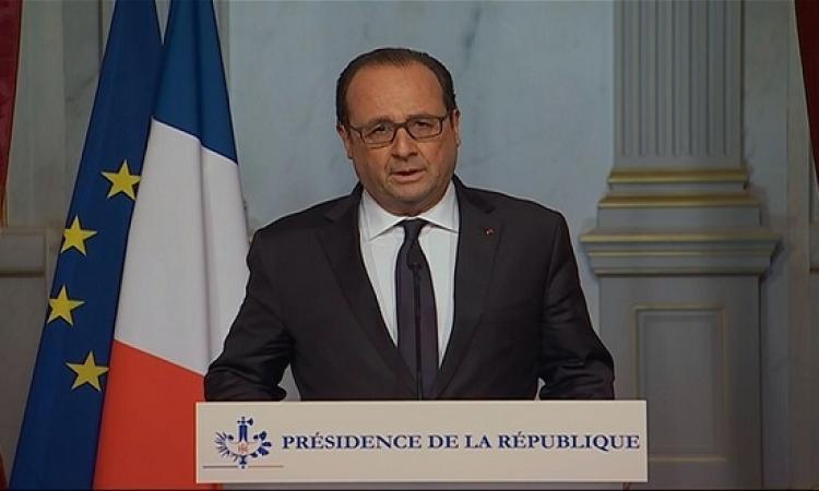 هولاند : داعش نفذ هجمات باريس بالتنسيق مع اطراف داخلية .. وسنرد بقسوة على التنظيم الجبان
