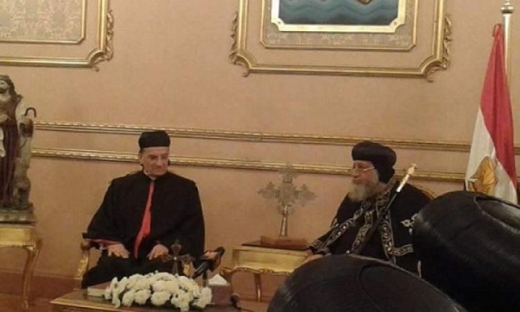 البابا تواضروس يلتقى بطريرك الكنيسة المارونية بالكاتدرائية المرقسية