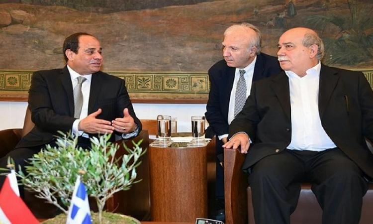بالفيديو .. السيسى يبحث تعزيز التعاون مع رئيس البرلمان اليونانى