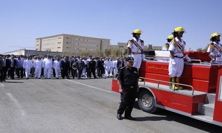 مجدى عبد الغفار يتقدم جنازة عسكرية لشهداء الشرطة فى انفجار الهرم