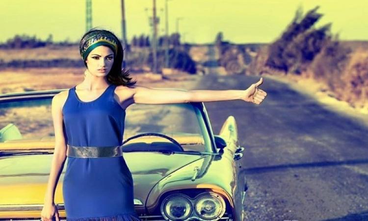 بالصور .. تارا عماد تتألق فى جلسة تصوير على الطريق