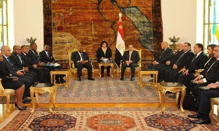 تعزيز التعاون الثنائى يتصدر قمة السيسى ورئيس الجابون