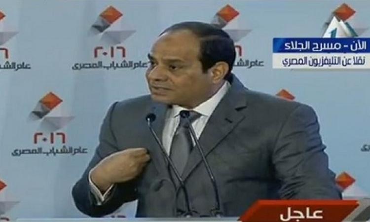 السيسى : لن أسمح بسقوط مصر .. والدولة مازالت تتعرض لتهديد حقيقى