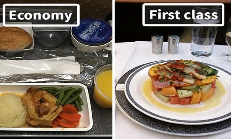 بالصور .. فرق الأكل فى الطيارات .. دى صابونة ودى صابونة !!