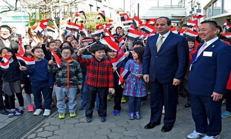 بالصور .. السيسى يزور مدرسة ابتدائية فى ختام زيارته لليابان