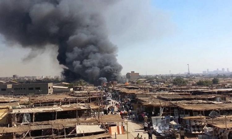 حريق هائل بسوق الجمعة بالسيدة عائشة .. والإطفاء تحاول السيطرة