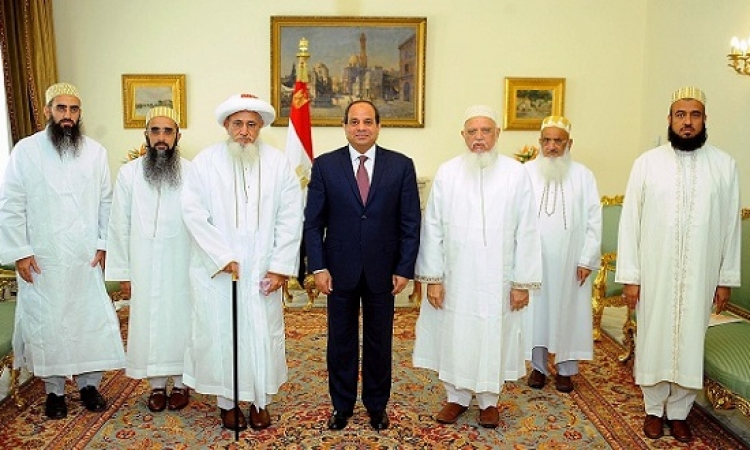 السيسى يشيد بجهود طائفة البهرة لترميم المساجد الأثرية فى مصر