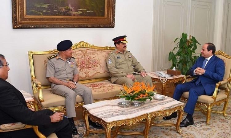 السيسى يستقبل رئيس أركان القوات البرية الباكستانية
