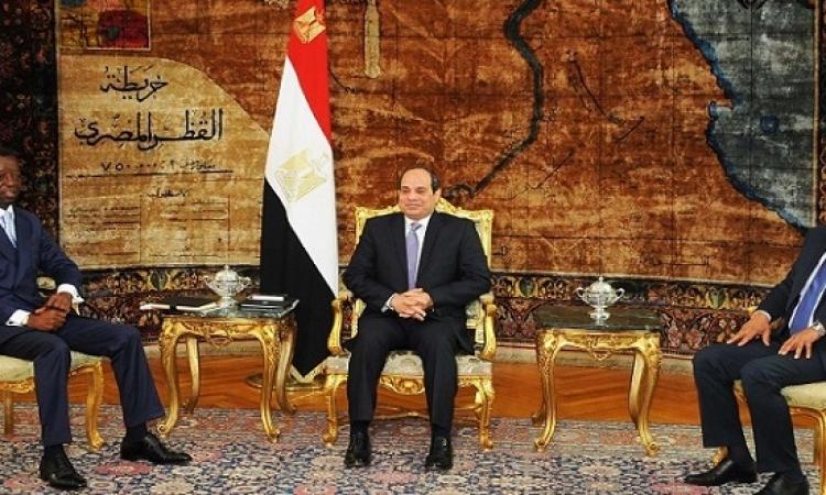 السيسى يستقبل رئيس البرلمان الافريقى بحضور عبد العال