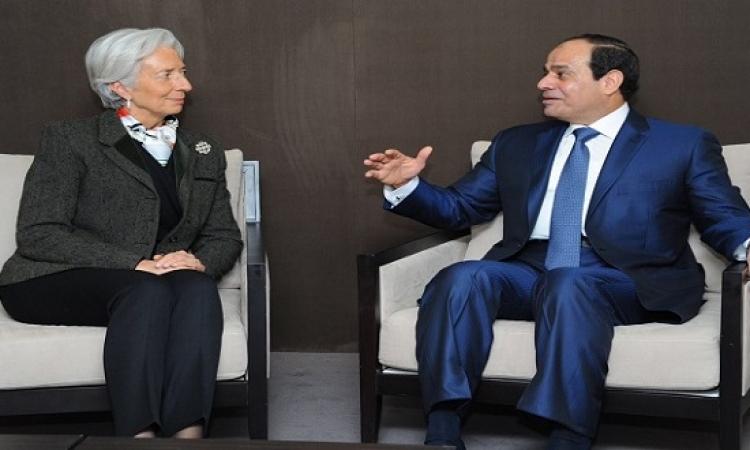 السيسى يستقبل كريستين لاجارد على هامش قمة العشرين