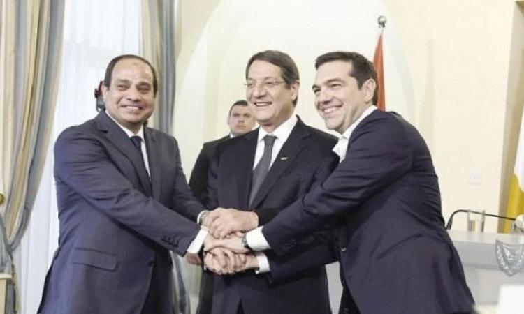 انطلاق القمة المصرية القبرصية اليونانية بقصر الاتحادية