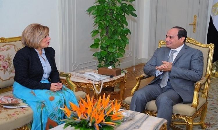 السيسى يستقبل مشيرة خطاب مُرشحة مصر لمنصب مدير عام اليونسكو