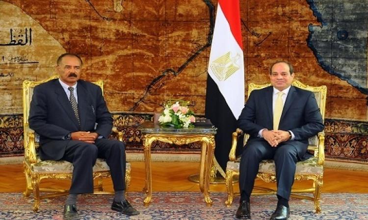 السيسى ورئيس اريتريا يؤكدان على أهمية تفعيل اللجنة المشتركة بين البلدين