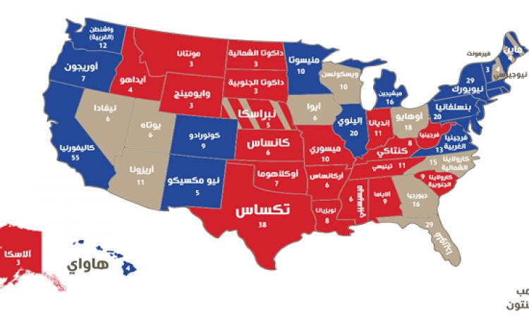 تعرف على الولايات الأمريكية الـ 12 المحورية فى انتخابات الثلاثاء