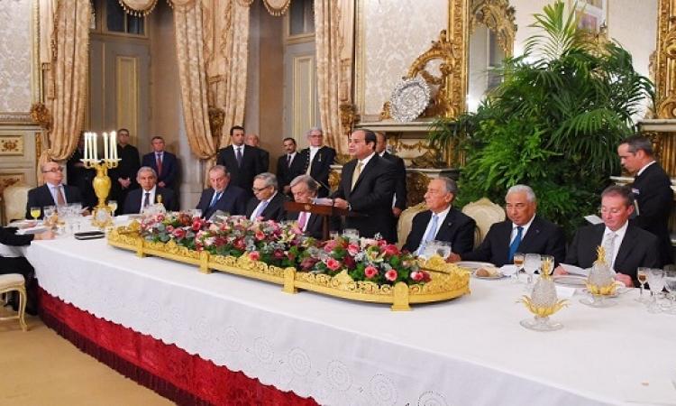 بالصور .. رئيس البرتغال يقيم مأدبة عشاء على شرف الرئيس السيسى