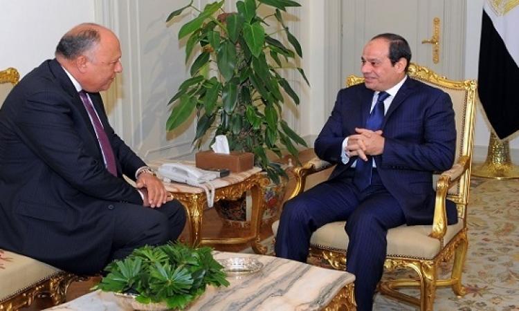 السيسى يتلقى تقريراً من وزير الخارجية حول زيارته للولايات المتحدة