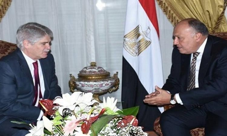 وزير خارجية اسبانيا يثمن مواقف مصر لتحقيق الأمن والاستقرار في المنطقة