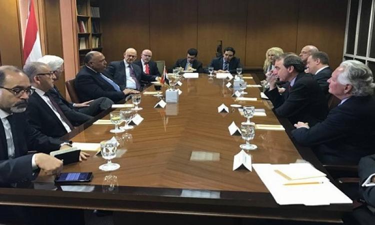 بالصور .. شكرى يلتقى ممثلى المنظمات الأمريكية اليهودية فى واشنطن