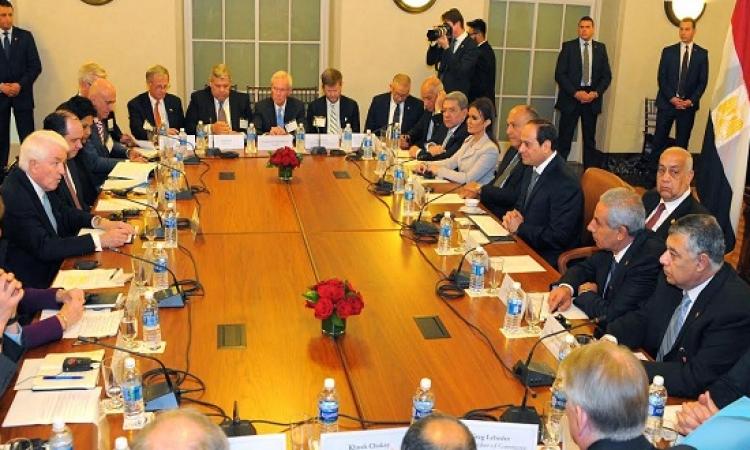 السيسى يجتمع برؤساء كبريات الشركات بغرفة التجارة الامريكية
