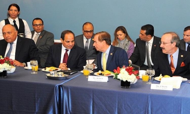 بالصور .. الرئيس السيسى يلتقى بعدد من قيادات مجلسى الشيوخ والنواب بالكونجرس