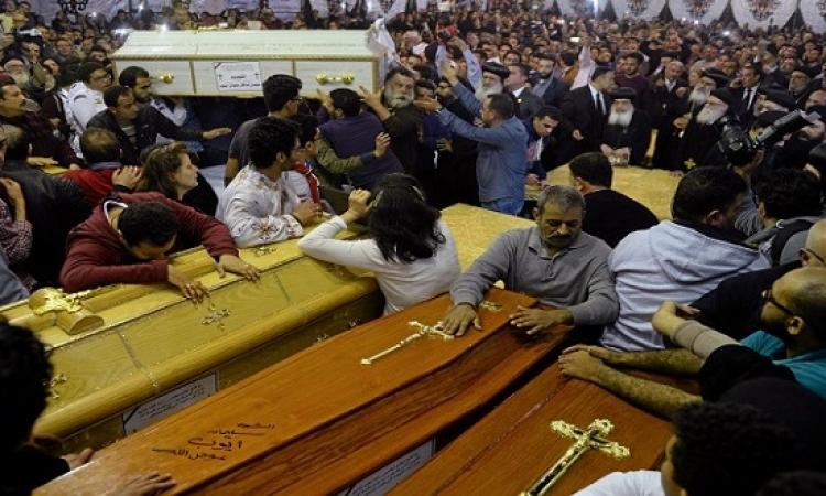 تشييع جثامين شهداء كنيسة مار مرقس بدير مارمينا بالإسكندرية