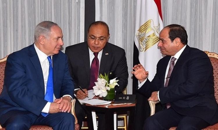 السيسى يبحث مع رئيس الوزراء الإسرائيلى سبل استئناف عملية السلام