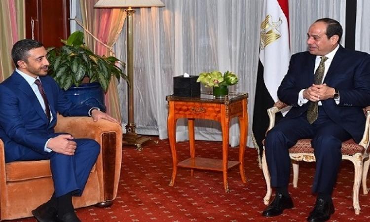 الرئيس السيسى يبحث قضايا المنطقة مع وزير الخارجية الإماراتى بمقر إقامته بنيويورك