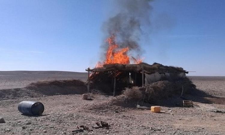 بالصور .. اكتشاف وتدمير 5 أوكار وسيارتى دفع رباعى للعناصر التكفيرية وسط سيناء