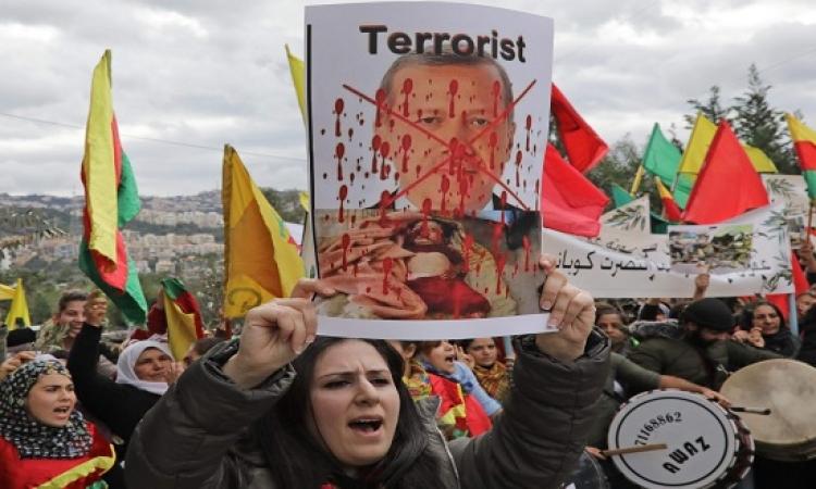 """تظاهرات فى لبنان تضامنا مع عفرين السورية تحت شعار"""" الإرهابى أردوغان"""""""
