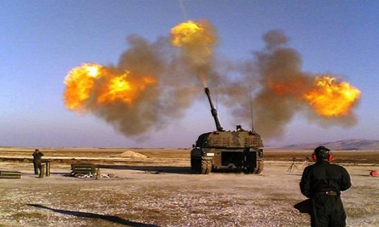 الجيش التركى يقصف مواقع الاكراد فى شمال سوريا