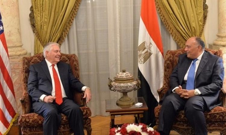 بالصور .. جلسة المباحثات بين شكرى ووزير الخارجية الأمريكى بقصر التحرير