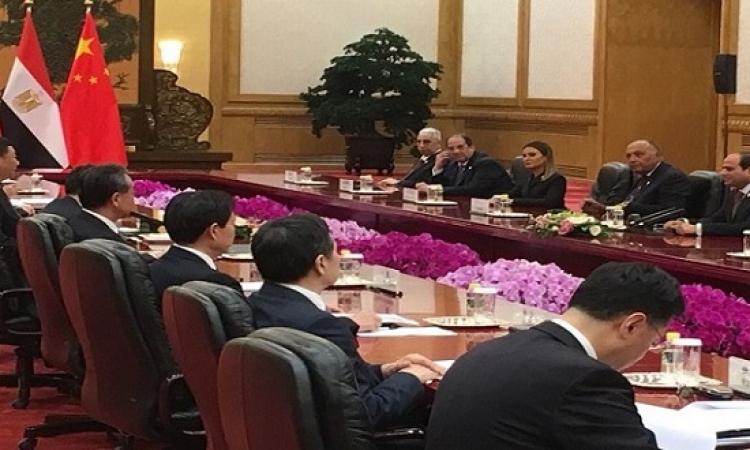 انطلاق المباحثات الموسعة بين السيسى والرئيس الصينى