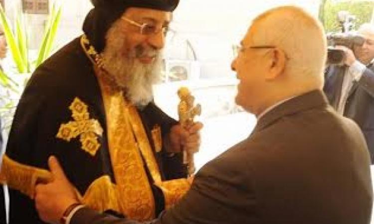 """البابا تواضروس يزور """"الرئيس منصور"""" لتهنئته بالدستور الجديد"""
