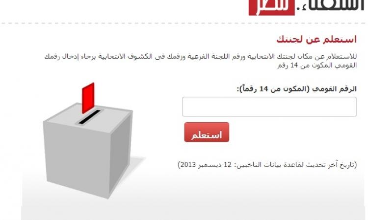 تعرف على مقر لجنتك الانتخابية في الاستفتاء على الدستور