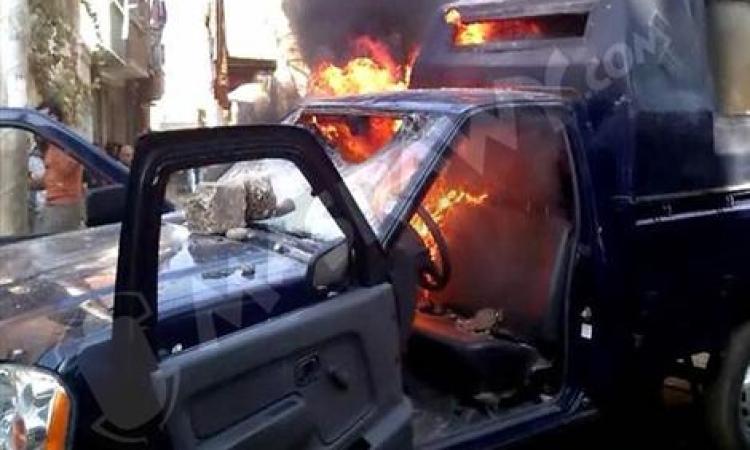 """اعدام""""الاخوانية""""تنشر فيديو تتبنى خلاله مسئولية حرق سيارة شرطة"""