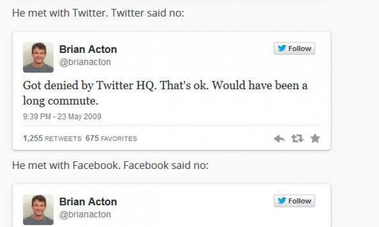 """بعد أن رفضته موظفاً لديها .. الفيسبوك تشتري الـWhatsApp بـ19 مليار دولار من """"Acton"""""""