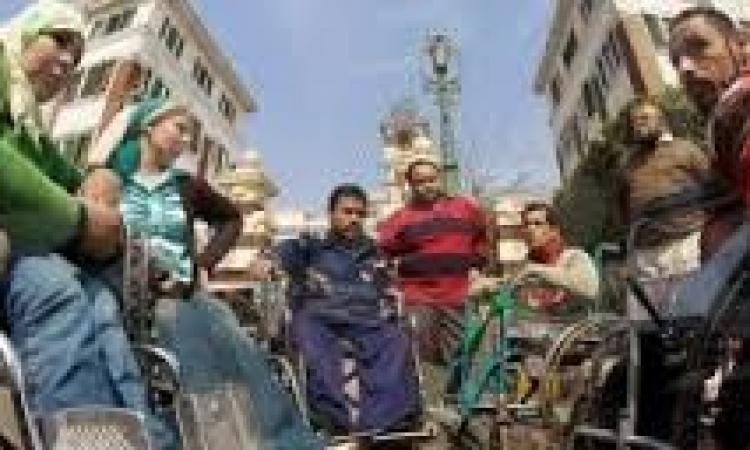 وقفة احتجاجية  لذوي الاحتياجات الخاصة بدمنهور للمطالبة بالتعيين