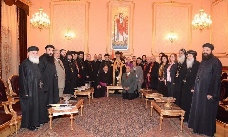 الكاتدرائية المرقسية ترفع الصلوات بمشاركة وفود الكنائس