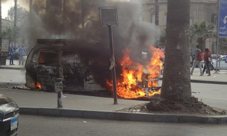 بالصور.. اشتباكات بين الأمن وطلاب الإخوان  خارج أسوار جامعة القاهرة