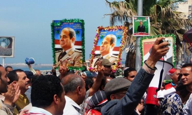 المئات من عمال غزل المحلة ينظمون مسيرة لتأييد السيسي