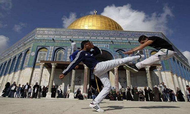 """بالصور .. شبان فلسطينيون يدافعون عن الأقصى بـ """" الكابويرا """""""