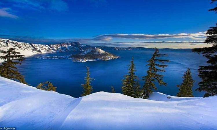بالصور .. جمال الطبيعة الامريكية المزينة بتيجان الثلوج البيضاء