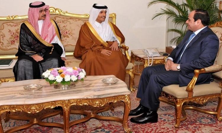 """السيسى يلتقى مبعوثى قطر والسعودية ويؤكد التزام مصر بـ""""اتفاق الرياض"""" ورغبتها فى تفعيله"""