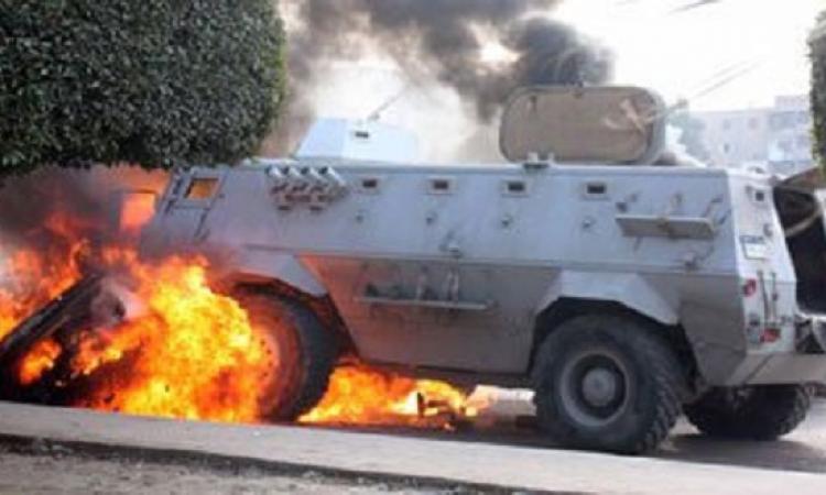 إصابة مجند ومواطن في تفجير مدرعة شرطة بالعريش