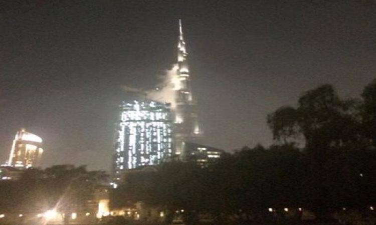 بالصور.. حريق هائل فى برج خليفة بدبى