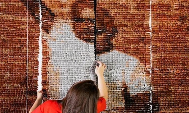 الإبداع لا حدود له .. لوحة فنية من أكياس الشاى