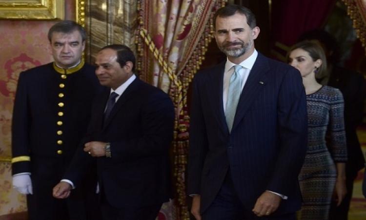 ملك اسبانيا يستقبل السيسى ويشيد بدور مصر ومكانتها