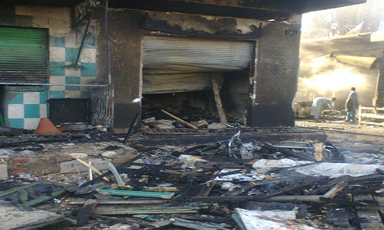 فى زيارة محلب لأسوان.. حريق 13 كشكًا فى كوم أمبو