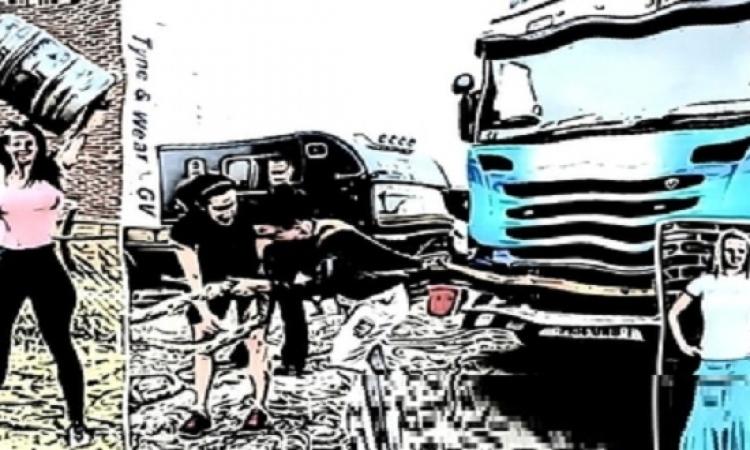 صور.. امرأة بريطانية ترفع 170 كجم وتجر شاحنة
