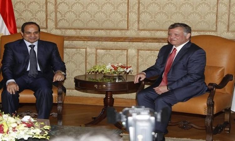 السيسى يلتقى العاهل الأردنى بمقر إقامته فى موسكو